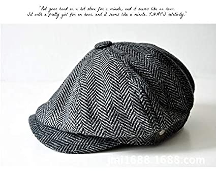 9476121f Image Unavailable. Image not available for. Color: Yichener Fashion Herringbone  Tweed Gatsby Newsboy Cap Men Wool Ivy Hat Golf Driving Flat ...