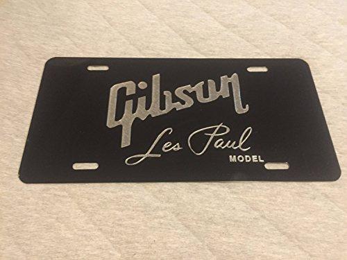 Diamond Etched Gibson Les Paul Guitars Logo Car Tag on Black Aluminum License Plate