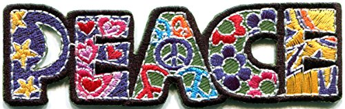 Inspired Peace Sign - Peace sign hippie boho retro flower power summer of love hippy applique iron-on patch new