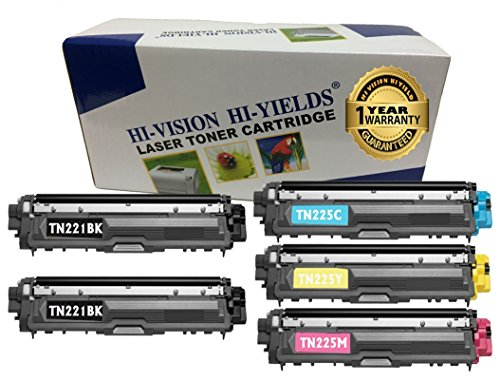 HI Vision 5 Pack Compatible TN221 TN225 BK/C/Y/M Toner Cartridge Replacement for DCP-9020CDN, HL-3150CDN (M Tn221 C Bk Y)