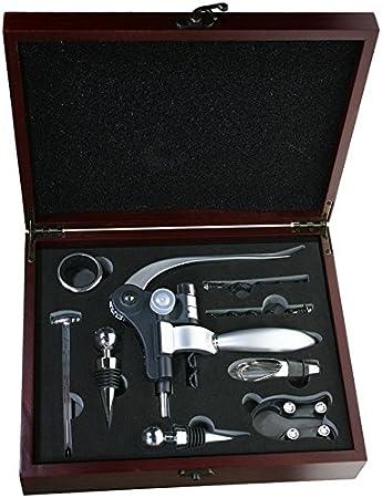CHRISTIAN GAR Estuche de Madera con 9 Accesorios para Vino - El Regalo para los Amantes del Vino (27 x 22 x 7 cm) F-415: Amazon.es: Hogar