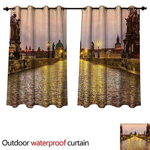 (WilliamsDecor Landscape Outdoor Balcony Privacy Curtain Charles Bridge Old Town Prague Czech Republic with Classic Medieval Buildings W55 x L72(140cm x 183cm))