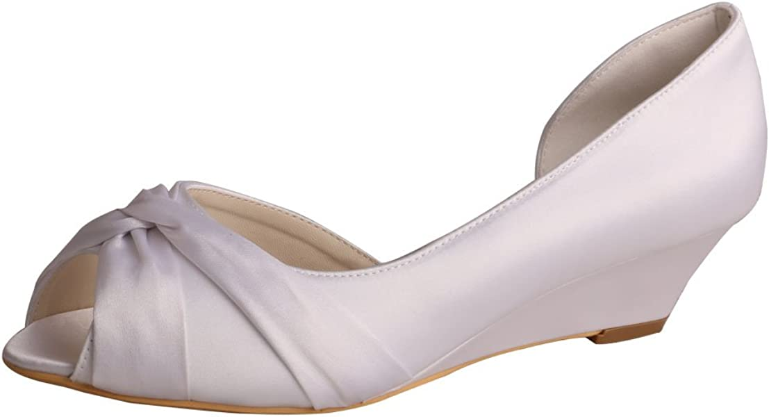 Wedopus MW494 Women s D Orsay Pleating Peep Toe Satin Wedding Bridal Shoes  Wedge for Bride f5d4a4297b91