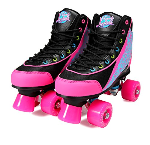 Kandy-Luscious Kid's Roller Skates - Comfortable Children's Skates with Fun Colors & Designs (Disco Diva Black) (Size 13 Junior)
