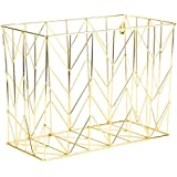 U Brands Hanging File Desk Organizer, Wire Metal, Gold