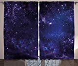 Cheap Ambesonne Galaxy Curtains 2 Panel Set, Celestial Stars in Night Sky Stardust with in Clouds Magical Fantasy World of Space, Living Room Bedroom Decor, 108 W X 84 L Inches, Purple Navy Blue