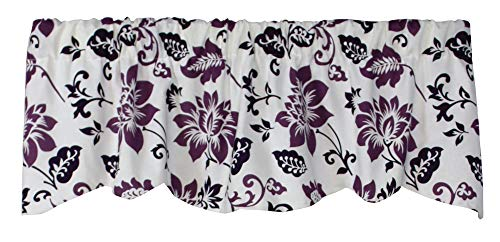 540V Jacobean Abstract 53 Inches Wide x 16 Inches Long Cotton Lined Beacon Valance Curtain, Plum (Purple Valance Curtains)