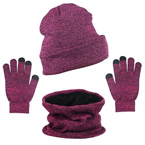 ZoomSky 3 in 1 Winter Strickmütze Set, Wintermütze Herren Warme Strickmütze Damen Winterschal mit Fleecefutter Winterzubehör für Wandern Laufen