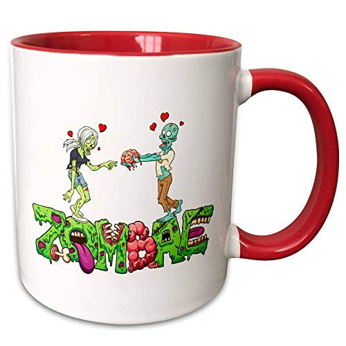 3dRose Carsten Reisinger - Illustrations - Funny Zombae Halloween Couple Zombie Woman Man - 11oz Two-Tone Red Mug (mug_294852_5)