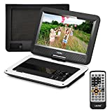 UEME Portable DVD CD Player with 10.1 Inch LCD Screen, Canvas Headrest case, Remote Control, Wall Charger Car Charger,...