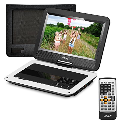 UEME 12.5 inches Portable DVD Player with 10.1 inches LCD Screen, Car Headrest Mount Holder, Remote Control, Travel DVD Players (White)