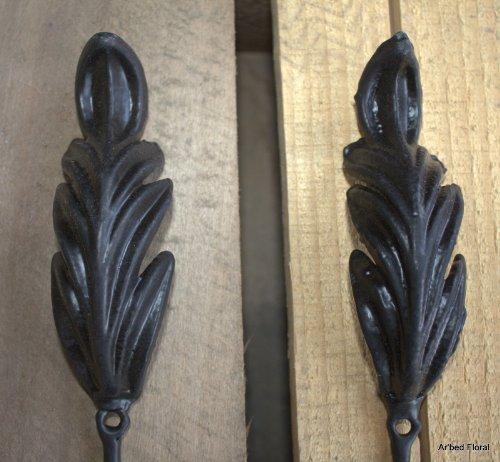 Set of 2 ~ Cast Iron Fleur Scroll Leaf Wall Hook ~ Hooks 3-d