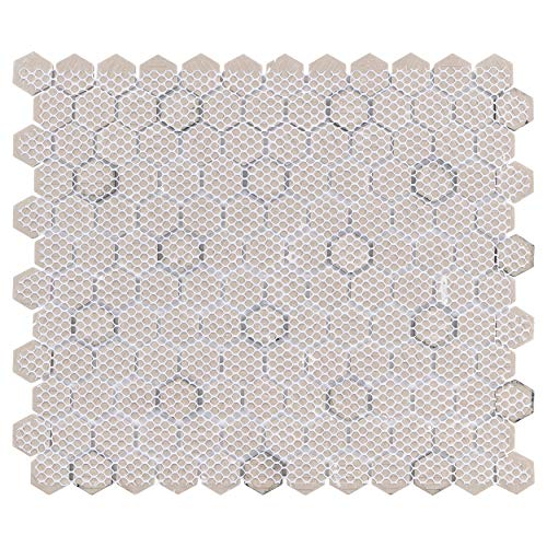 SomerTile FXLMHWBD Retro Hexagon Porcelain Mosaic Floor and Wall Tile, 10.25'' x 11.75'', White with Black Dot by SOMERTILE (Image #2)