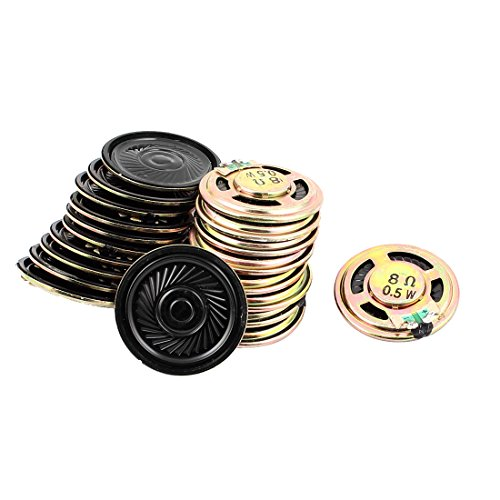 Aexit 20 Pcs 36mm 8 Ohm 0.5W External Magnetic Speaker Loudspeaker Gold Tone by Aexit
