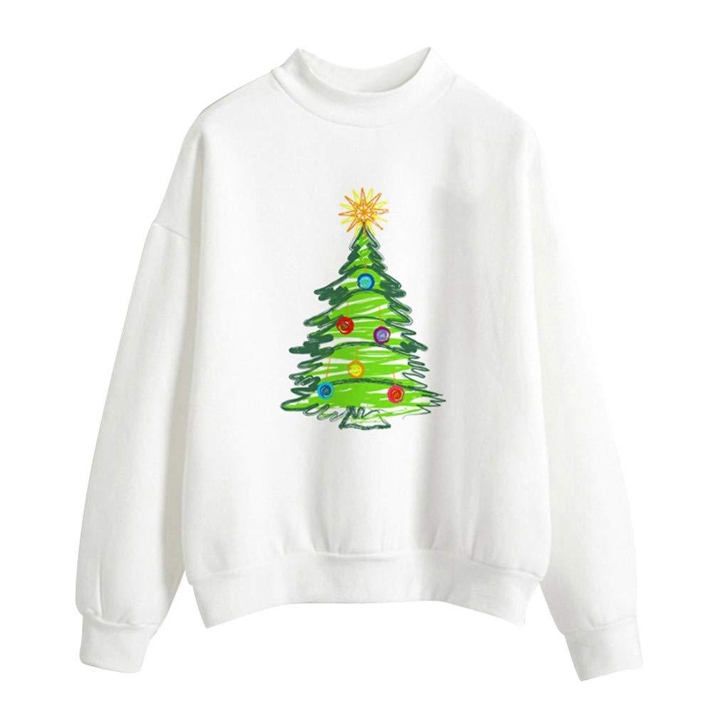 Hpapadks Women Christmas Print Long Sleeve Ladies Blouse Pullover Tops Shirt Sweatershirt Women's Sweatshirt Loose