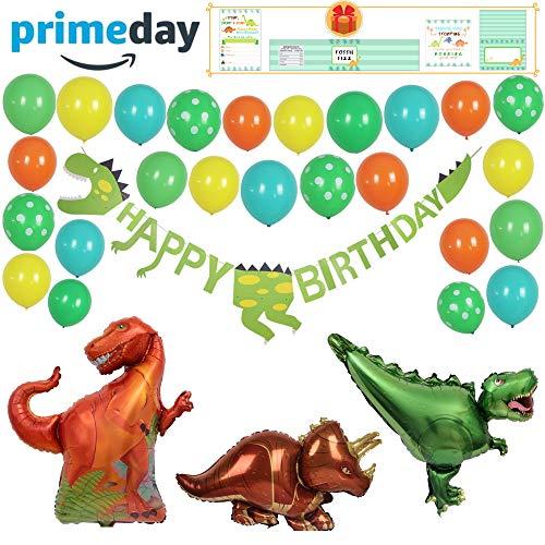 Dinosaur Party Supplies - Decoration Set for Dinosaur Birthday Party for Boys & Girls - Garland Kit with Dinosaur Birthday Banner, 3 Giant Foil Dinosaur Balloons & 30 Latex Balloons