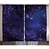 Galaxy Curtains 2 Panel Set by Ambesonne, Celestial Stars in Night Sky Stardust with in Clouds Magical Fantasy World of Space, Living Room Bedroom Decor, 108W X 84L Inches, Black Navy Blue