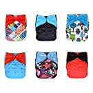 Charcoal Bamboo All In One Cloth Diapers with Inserts, 6-pack (Boy / Prints)