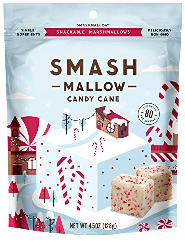 Candy Cane by SMASHMALLOW | Snackable Marshmallows | Non-GMO | Organic Cane Sugar | 80 calories | (4.5 oz)