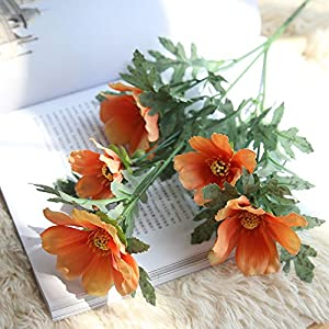 NIHAI Artificial Flower Looks Realistic and Beautiful Flower Arrangement Fake Daisy Chrysanthemum Silk Floral for Wedding Garden Party Bedroom Home Decorations (Orange) 100