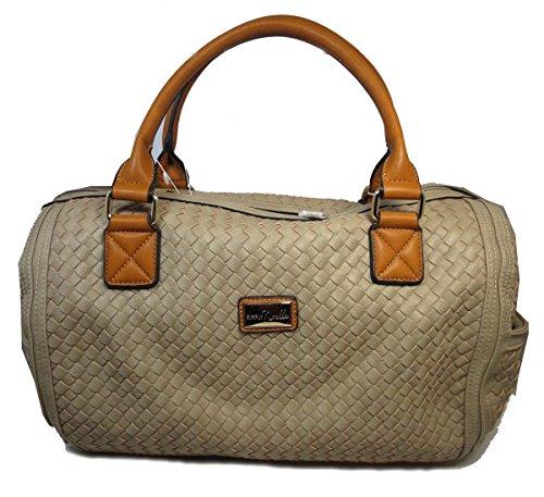 Simply Noelle Weekender Vegan Faux Leather Basketweave Ladies Travel Bag (Khaki) Overnighter Bag Handbags