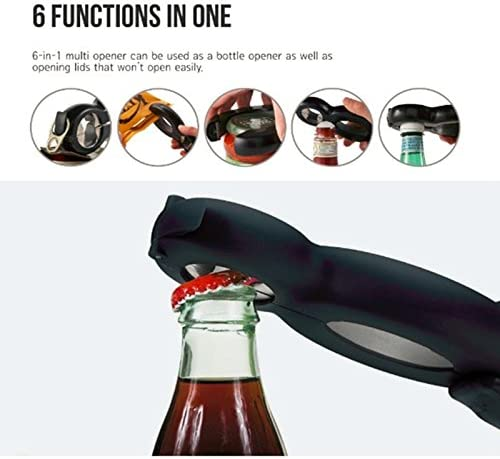 Bag /& Can Opener Black Great for Seniors with Rheumatoid Arthritis Multi function 6-in-1 Essential Kitchen Tool Geekinstyle Bottle Opener and Seal /& Lid Remover Jar /& Lid Twist Off Gripper
