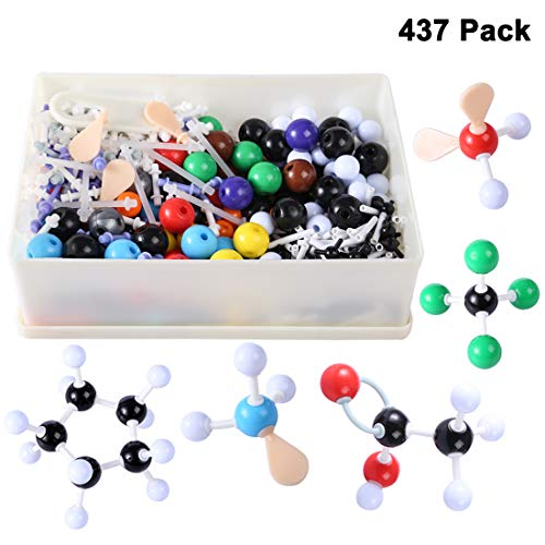 Yamix 437Pcs Chemistry Molecular Model Kit, Organic Inorganic Modeling Molecule Chemical Structure Model Set Educational Teaching Tool with 2.2cm Balls in Diameter