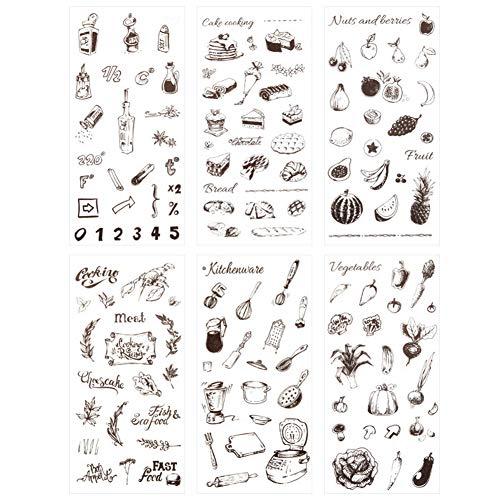 Food Scrapbook - 3 Set(18 Sheet) Kitchen Stuff Kitchenware Cooking Tool Cake Bread Food Fruit Vegetables Stationery Sticker Scrapbooking Journal Diary DIY Label Craft Stickers for Kids Boys Girls (Food)