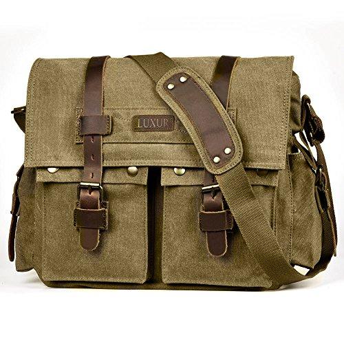 LUXUR 16 Inch Messenger Bag Shoulder Laptop Bags Military Satchel Vintage Canvas Travel Bag Bookbag (Messenger Bag Large Tenba)