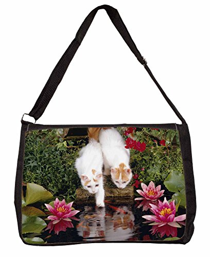 Turkish Van Cats by Fish Pond Large 16 Black School Laptop Shoulder Bag TBWdvxY