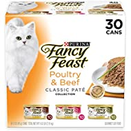 Purina Fancy Feast Grain Free Pate Wet Cat Food Variety Pack; Poultry & Beef Collection - (30) 3 oz. Cans