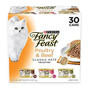 Purina Fancy Feast Grain Free Pate Wet Cat Food Variety Pack; Poultry & Beef Collection - (30) 3 oz. Cans 63