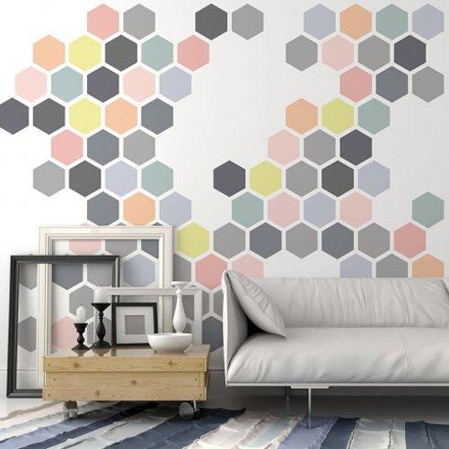Honeycomb Allover Wall Stencil - Trendy Stencils for DIY Home Decor - By Cutting Edge Stencils