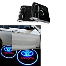 Soondar 2 pcs Universal Wireless Car Projection LED Projector Door Shadow Light Welcome Light Laser Emblem Logo Lamps Kit, No Drilling (Toyota) - No Drilling Required