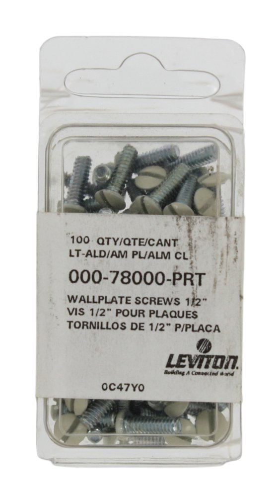 Leviton 78000-PRT 1/2-Inch Long 6-32 Thread, Oval Head Milled Slot Replacement Wallplate Screws, Light Almond