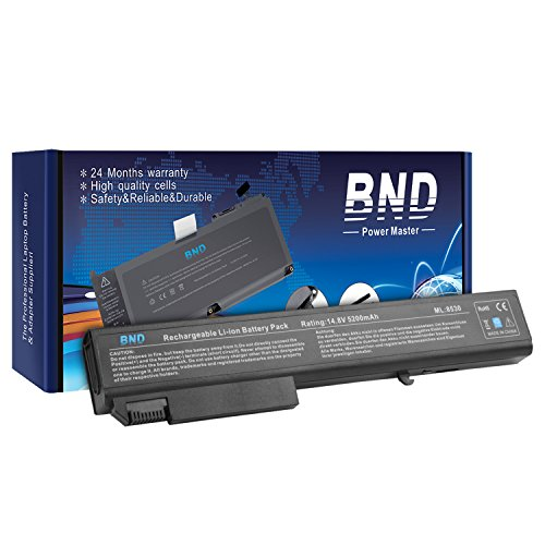 BND Laptop Battery [with Samsung Cells] for HP EliteBook 8530p 8540p 8730w 8530w 8540w / HP ProBook 6545b, fit P/N KU533AA 493976-001 HSTNN-LB60 - 24 Months Warranty [8-Cell 5200mAh Li-ion]