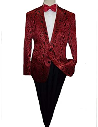alberto nardoni mens shiny red floral paisley two button jacket