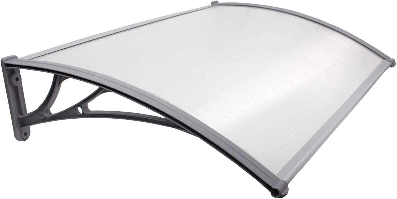 TRUTZHOLM /Überdachung Vordach 100 x 200 cm Silber Haust/ürdach Haust/ür Pultvordach Kunststoff Alu Leisten Wetterschutz Eingangsbereich
