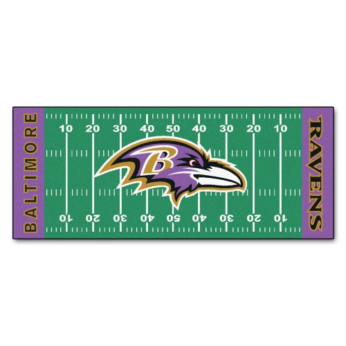 FANMATS NFL Baltimore Ravens Nylon Face Football Field Runner Baltimore Ravens Field Football