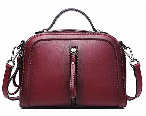 La mujer Xinmaoyuan bolsos moda bolso de cuero color Spray solo hombro Paquete Diagonal Cowhide señoras bolso Vino rojo