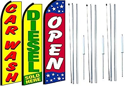 Pack of 3 CAR WASH NOW OPEN King Windless Feather Flag Sign Kit With Complete Hybrid Pole set