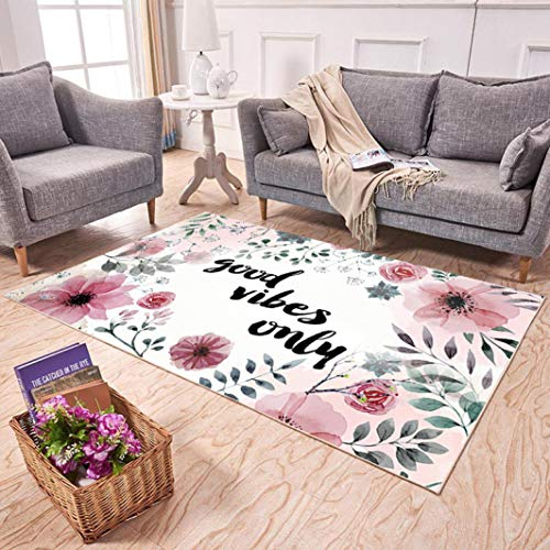 2' Medallion Insert - Chad Hope Modern Floor Mats Abstract Collection Coral Fleece Rugs Tropical Flamingo Pattern Carpets Anti-Slip Pads