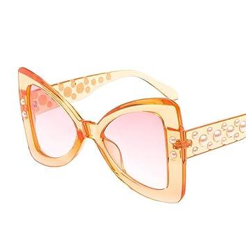 Aoligei L'Europe et les États-Unis fashion Pearl femme visage rond rétro candy couleur lunettes de soleil classique Bow Version O Lunettes de soleil F cFpK6U0