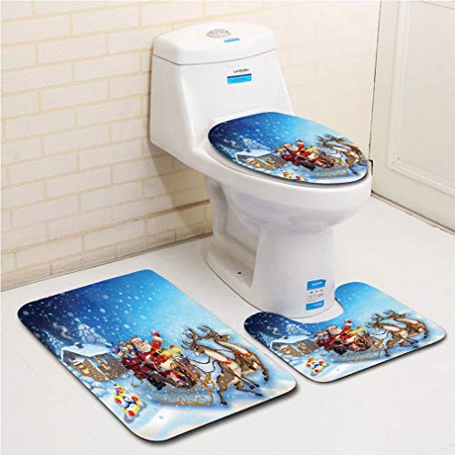 Family bathroom set of 3, bathroom rug + contour pad + lid toilet seat Christmas Decorations,Santa in Sleigh with Reindeer and Toys in Snowy North Pole Tale Image,Navy Blue flannel carpet ()