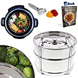 PREMIUM Steamer Insert Pans - STACKABLE 2-Tier - BEST Bundle - Fits Instant Pot Pressure Cooker 6 Qt & 8 Quart - 100% Stainless Steel - BONUS Accessories - Vegetable Peeler + eBook | For Instapot