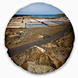 Designart CU10727-16-16-C Salt in Lanzarote Spain Musk Pond' Seashore Throw Cushion Pillow Cover for Living Room, Sofa, 16'' Round, Pillow Insert + Cushion Cover Printed on Both Side