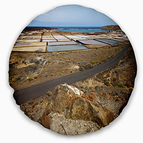 Designart CU10727-20-20-C Salt in Lanzarote Spain Musk Pond' Seashore Throw Cushion Pillow Cover for Living Room, Sofa, 20'' Round by Designart