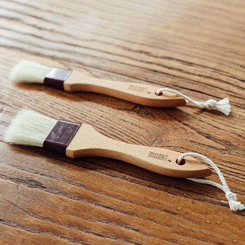 Pastry Brush Natural Bristle Wooden, MSART Basting/Food Brush, with Beech Wood Handle and Rope Hook, Great for Butter, Cookies, Oil, Bread, Frosting. Easy to Clean (1 inch & 1.5 inch set) by MSART (Image #7)