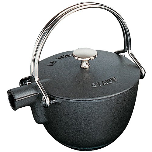 (Staub 1650023 Cast Iron Round Tea Kettle, 1-quart, Black Matte)