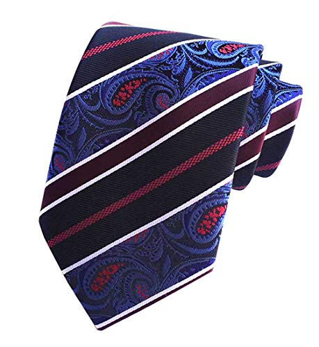 MENDENG Mens Blue Black Red Paisley Silk Woven Tie Business Wedding Necktie Ties
